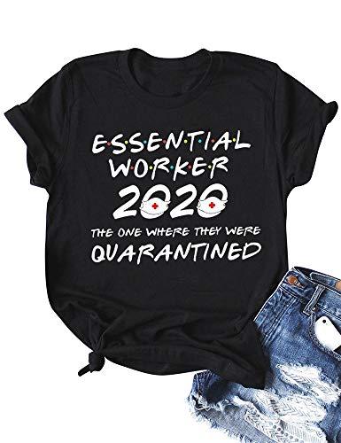 ZYX Women Essential Worker 2020 Letter Print Tops Short Sleeve Social Distancing Tee Quarantined T-Shirt Black