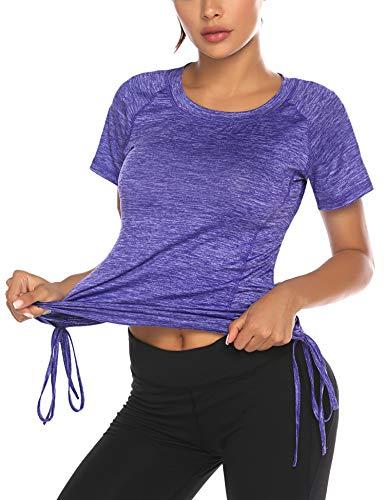 Damen T-Shirt Sport Fitness Sportshirt Kurzarm Atmungsaktiv Shortsleeve Elastisch Running Yoga Top Laufshirt Shortsleeve
