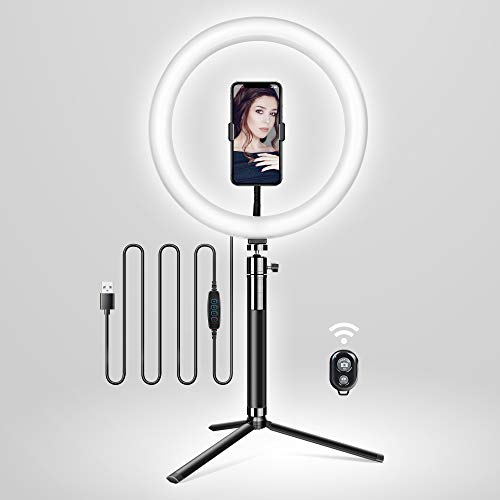 Elitehood 12'' LED Ring Light with Stand and Phone Holder, Adjustable Selfie Light Makeup Light, 3 Colors Light Ring YouTube Equipment & Ringlight with Phone Stand for recording/Photography/VLOG/Video