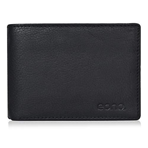 Eono by Amazon Geldbörse aus Leder für Damen und Herren – Flaches Design mit RFID Ausleseschutz-Funktion