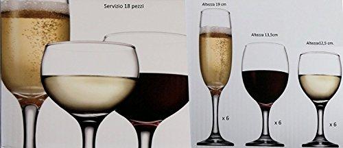 Pagano Home - offerta servizio bicchieri 36 pezzi in vetro 12 calici vino 12 calici acqua 12 calici flute modello Pari confezione regalo, adatto al lavaggio in lavastoviglie