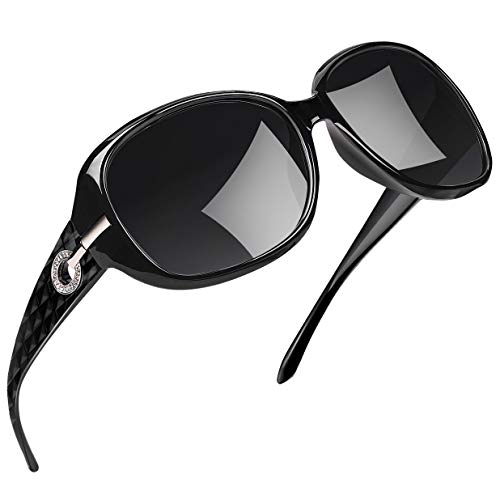 Joopin Polarisierte Sonnenbrille Damen Groß UV400 Schutz Klassische U9045 (Schwarz+Einfache Verpackung)