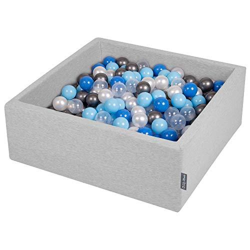 KiddyMoon Bällebad 90X30cm/300 Bälle ∅ 7Cm Bällepool Mit Bunten Bällen Für Babys Kinder Quadrat, Hellgrau:Perle/Blau/Baby Blau/Transparent/Silbern