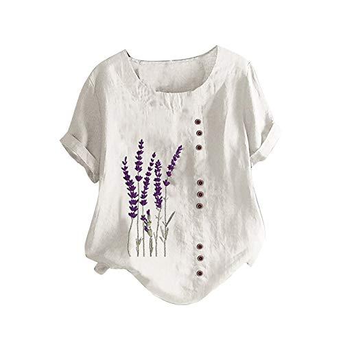 Eaylis Damen Lässige O-Neck T-Shirts Elegant Leinentop Bedruckte Blusen Plus Size Top Tunika Loose Button Tunika Shirt Bluse Tops