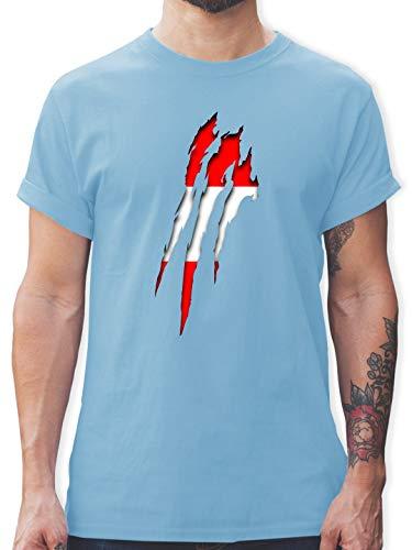 Länder - Österreich Krallenspuren - S - Hellblau - Patriot - L190 - Tshirt Herren und Männer T-Shirts
