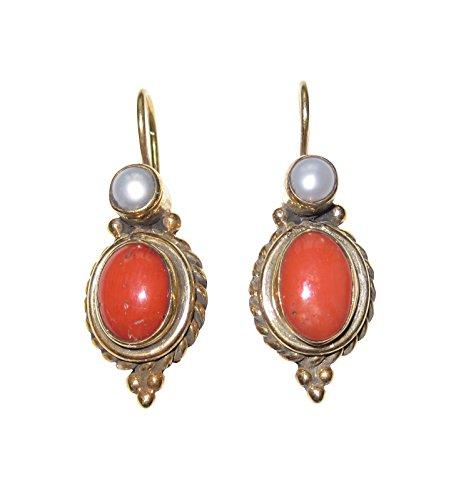 Korallen-Ohrringe orange-rot Süßwasser-Perle echt Hänger Haken verschließbar Silber vergoldet Handarbeit Retro Vintage leicht Unikat Italien Antik-Look