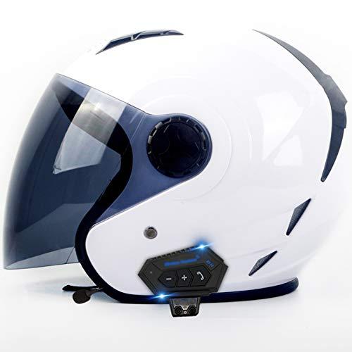 GAOZ Integrato Bluetooth Casco, Staccabile Multi-Funzione con HD Obiettivo Moto Casco Integrale Cuffia Bluetooth per Uomini e Donne, ECE Omologato (55-62 cm)