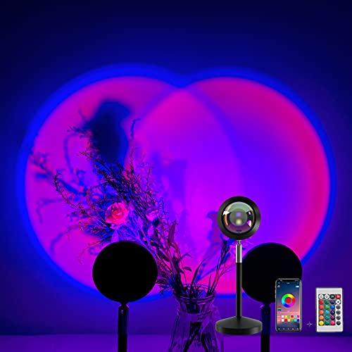 Lampada al tramonto,16 colori in 1 con 4 modalità, romantica, luce notturna a LED, proiettore a 180°, rotazione di 180°, lampada di proiezione al tramonto per il soggiorno, la camera da letto