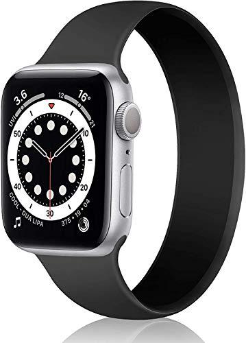 DYKL Correa de repuesto deportiva compatible con Apple Watch de 40 mm y 38 mm, bandas elásticas de silicona suave compatible con iWatch Series 6 5 4 3 2 1 SE (38 mm-40 mm/M, negro)