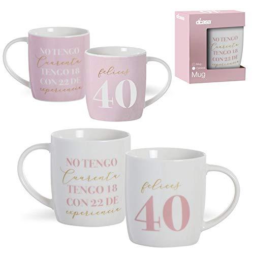 Set de 2 MUG 350ML 40 AÑOS (rosa y blanco) en su cajita- Medidas:8,3x8,3x10