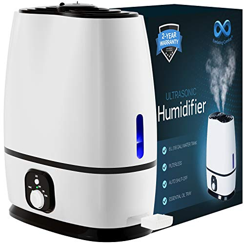 Everlasting Comfort Ultrasonic Cool Mist Humidifier (6L) - Essential Oil Tray, High Output, Ultra Quiet, Auto Shut Off, Night Light, Large Capacity Vaporizer, 6L, White