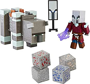 Minecraft Craft-a-Block 2-Pk Ravager & Raid Captain Action Figures & Toys to Create Explore and Survive Authentic Pixelated Designs Collectible Gifts for Kids Age 6 Years and Older