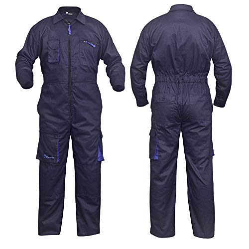 NORMAN Marineblau Arbeitskleidung Herren Latzhose Monteuranzug Overalls Mechaniker Blaumann Schützende - Marineblau, Large