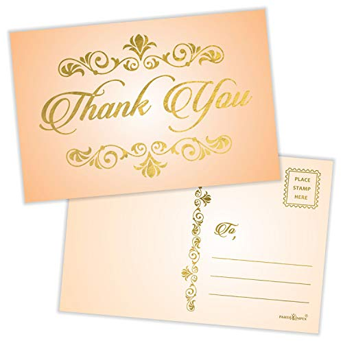"""Thank You Postcards (Pack of 50) Gold Foil Letterpress with Mailing Side 4""""x6"""" All Occasion Mailable - Rustic Peach"""
