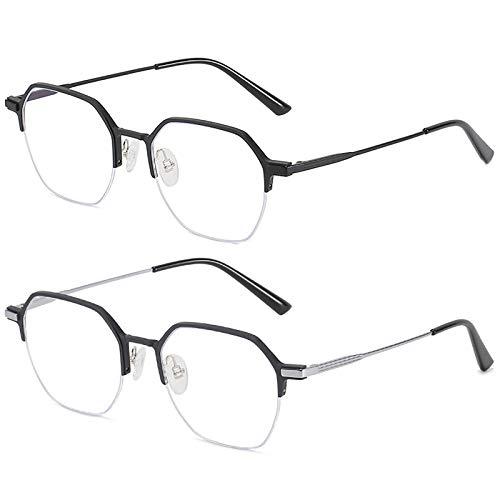 Bias&Belief Pack de 2 Gafas con Bloqueo de luz Azul Juego de computadora Gafas Marco de anteojos hexagonales Gafas para Juegos de Lectura Anti-Fatiga Ocular para Mujeres y Hombres,D