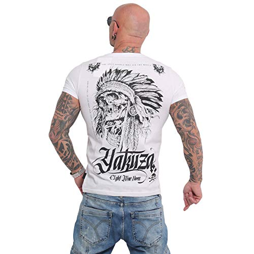 Yakuza Herren Indian Skull T-Shirt, Weiß, Gr. XXL