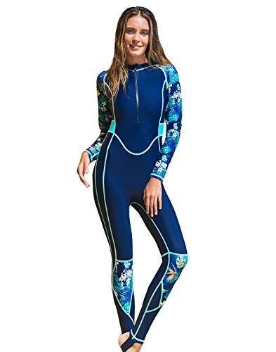 Aivtalk Traje de Buceo Mujer de Secado Rápido Traje de Surf de una Pieza Manga Larga con Almohadilla para el Pecho Swimwear Azul S