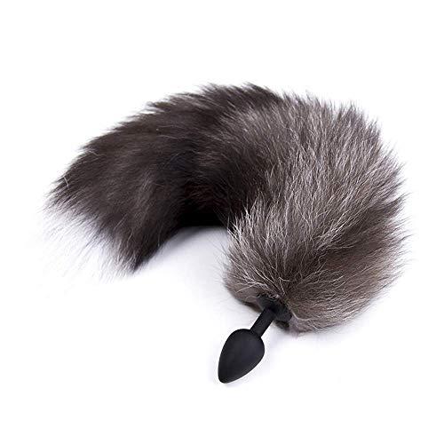 Muitar zachte vos staart cosplay partij kostuum, pluizig bont speelgoed voor volwassene/tiener - grijs