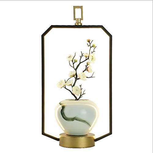 Lámpara de Mesita Nuevo Chino lámpara de mesa de la sala dormitorio de noche Recepción de cerámica del centro de flores Zen Significado del estilo chino china moderna decoración de la lámpara Luz de N