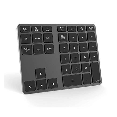 Jelly Comb Bluetooth Ziffernblock, Kabellose Schnurlose Nummernblock, Wireless Keypad Numpad mit 35 Tasten für PC, Laptop, MacBook, Tablet mit Windows/MacOS/Android, Grau