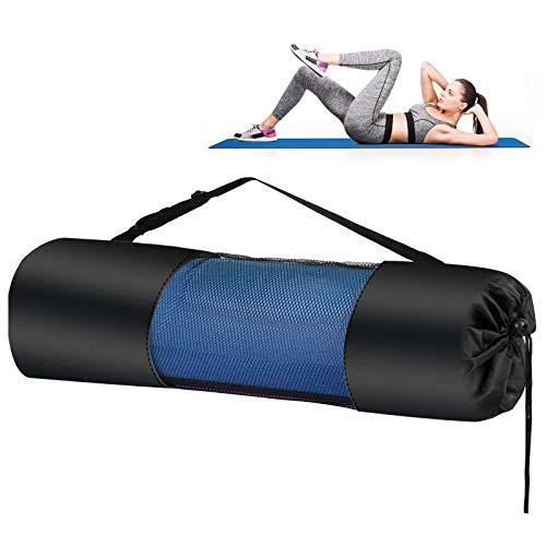 Yogamatten Gymnastik Fitnessmatten TPE Jogamatte Yoga mat Tragegurt + Tasche Übungsmatte Dünne rutschfeste Yogamatte Outdoor Sportmatte für Pilates,Fitness Training Yogamatte 183 x 61 x 0.6 cm Blau