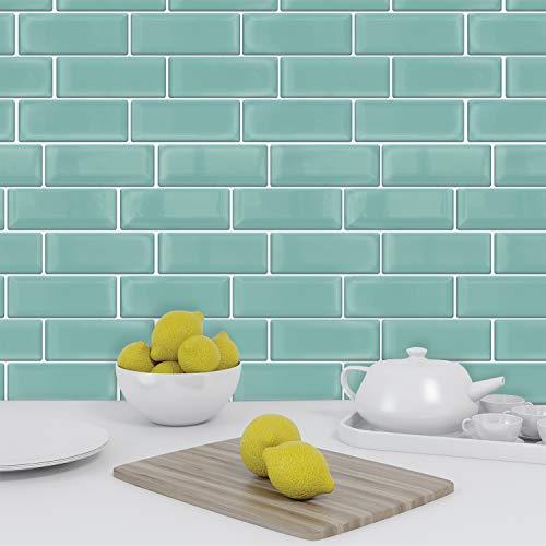 Green Sea Glossy 3D Metro Aufkleber Fliesen 30 x 30 cm Zeitgenössische eklektische Wand Spritzschutz Mosaike, selbstklebend, Glaseffekt, Peel and Stick, Badezimmerdekoration, DIY, Küchendekor