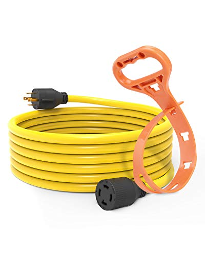BougeRV 30 Amp 20 Ft Generator Power Cord 10 Gauge for Manual Transfer Switch Nema L14-30 Heavy Duty Electric Extension Wire 4 Prong 10 Gauge SJTW Cable 125 250V 7500 Watts