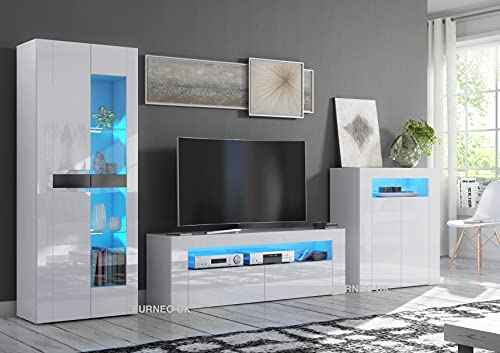 Furneo High Gloss & Matt White Living Room Set TV Stand Sideboard Display Cabinet Blue LED Lights