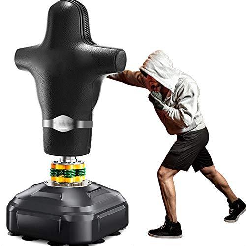 WXH Freistehender Fitness-Boxsack für Menschen Schwerer Boxsack, mit Saugnapfboden, Vierfeder-Doppelrindfleischsehnen-Polsterbecher, Taekwondo Sanda