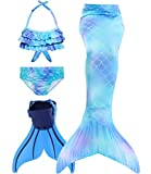 Superband Mermaid Tail Swimsuit with Monofin Girls Boys Swimwear Bikini Set, Model A6, 10-13 Years