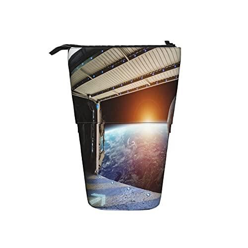 Astuccio telescopico Astuccio per cancelleria,Vista dalla finestra del pianeta Terra da una,Supporto per matite Stand Up Astuccio per cosmetici con cerniera per l ufficio del college scolastico