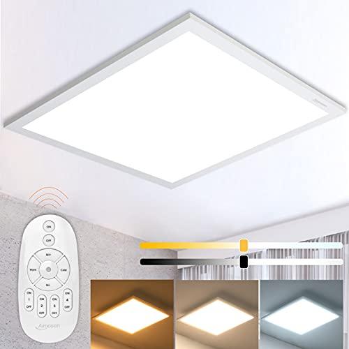 Dimmbar LED Deckenleuchte Ceiling Light Panel 45x45cm, 28W Quadrat Deckenlampe mit Fernbedienung Warm Natur Kalt Tageslicht 2700K-6500K Höhe Helligkeit für Wohnzimmer Schlafzimmer Büro Werkstatt
