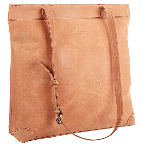 HOLZRICHTER Berlin Shopper Handtasche (L) - Premium Damen Umhängetasche aus Leder mit Henkel - camel-braun