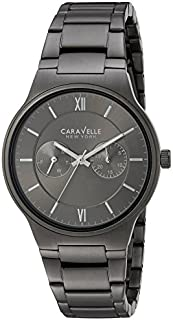 Caravelle New York Men's Analog-Quartz Watch with Stainless-Steel Strap, Grey, 20 (Model: 45A136)