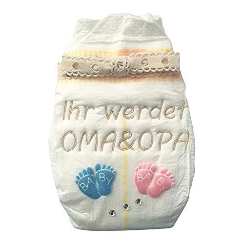 Tanjo Windel bestickt Ihr werdet Oma und Opa I 3 Hochwertige Swarovski Kristalle I Schwangerschaft verkünden Großeltern, ihr werdet Großeltern Geschenk, Geschenke zur Geburt