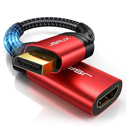 JSAUX Displayport HDMI Adapter (4K@60Hz,2K@144Hz) Haltbar DP auf HDMI Adapter Unterstützung Nylon Geflochten DisplayPort auf HDMI Konverter kompatibel mit HP, HDTV, ThinkPad, Monitor, Projektor-Rot