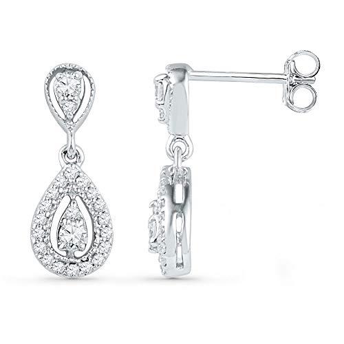 Pendientes de oro blanco de 10 quilates con forma de lágrima de diamante redondo de 1/3 quilates para mujer