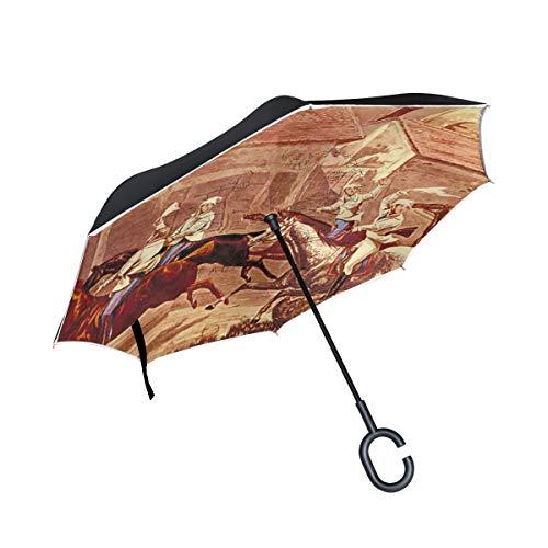 BEUSS Antiguo Caballo Guerrero Doble Capa de Paraguas Invert