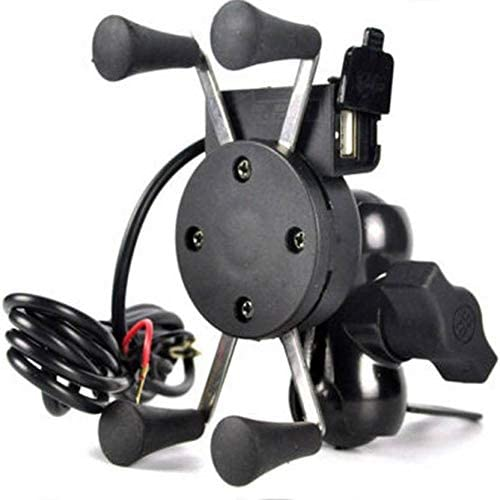 Jstbuy Spider Bike Mobile Holder with USB 2.0 Fast Charger - X Grip Spider Universal Motorcycle Car 360 Degree Rotati...
