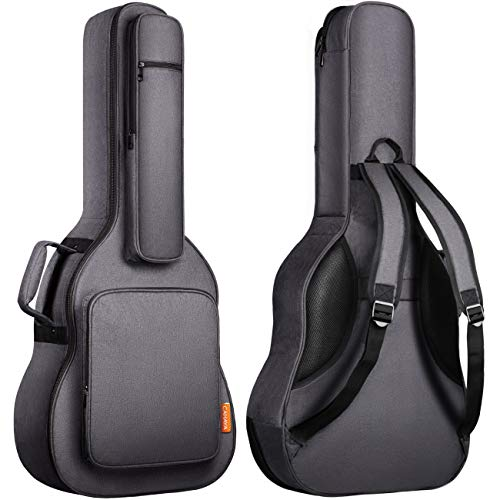 CAHAYA アコースティックギター ギグバッグ ネックピロー付き 18mmスポンジ (特許番号No 007468509-0002) アコギギター セミハード ギターケース 5つの大容量ポケット 肩掛け 手提げ 高端バッグ (グレー)