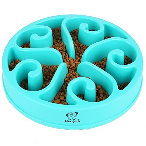 Decyam Pet Fun Feeder Dog Bowl Slow Feeder, Bloat Stop Dog Food Bowl Maze Interactive Puzzle Cat Bowl Non Skid