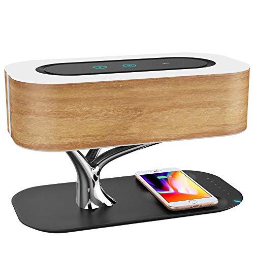 GENGJlamp Nachttischlampe Mit Bluetooth-Lautsprecher Und Kabellosem Ladegerät | Touch Dimmbar | Nachttischleuchte Mit Schlafmodus | Wireless Charger | Stufenloses Dimmen | Tischlampe | LED
