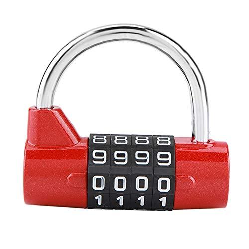 Candado de combinación con 4 números de marcado, gabinete de casa Caja de viaje Gimnasio Locker Código de seguridad Bloqueo(Red)