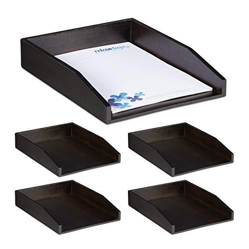Relaxdays 5 x Dokumentenablage, stapelbar, DIN A4 Papier, Büro, Schreibtisch, Briefablage aus Bambusholz, 6,5x25x33,5 cm, braun