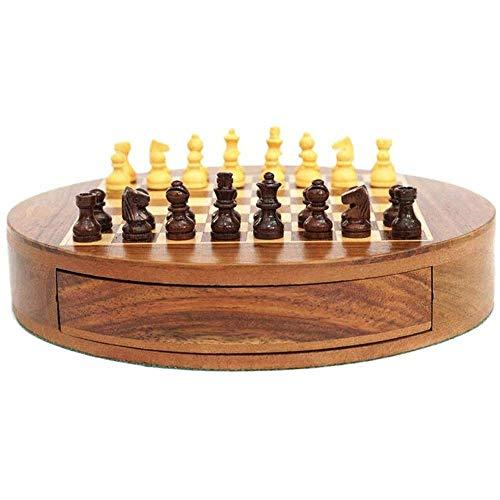 Juego de ajedrez Juego de Tablero de Madera de ajedrez, Juegos Tradicionales Ajedrez Juego de ajedrez Redondo de Madera Creativo Piezas de ajedrez Desarrollo de niños Aprender (Tamaño: XL)
