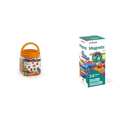 Miniland 97911 - Bote Figuras magnéticas Letras, 154piezas + Números magnéticos 54 Piezas, Multicolor (45314) , Modelos/ Surtidos, 1 Unidad