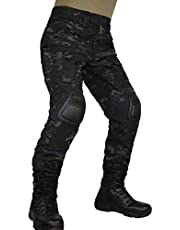 zuoxiangru Pantalones tácticos multicámara para Hombres Multi-Bolsillos Camuflaje Militar Pantalones de Caza de Combate Airsoft al Aire Libre con Rodilleras