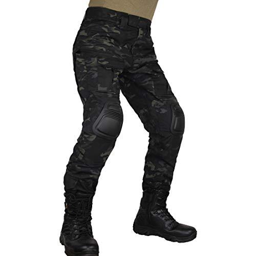 zuoxiangru Tactical-Herrenhose mit Tarnmuster, mehrere Taschen, Outdoor-Militärhose für Airsoft, Jagdhose mit Knieschützern (Aymch, Tag 36)