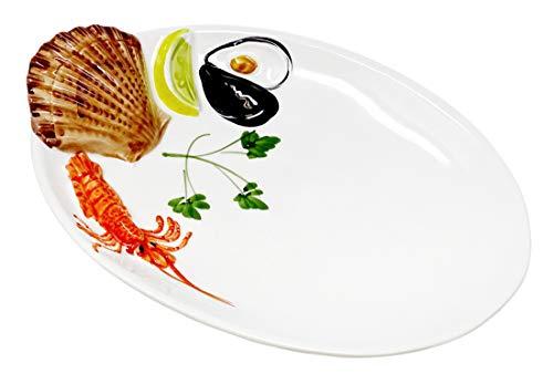 Lashuma Handgemachte Ovale Servierplatte aus Italienischer Keramik im Meeresfrüchte Design, Servierteller 26 x 18 cm