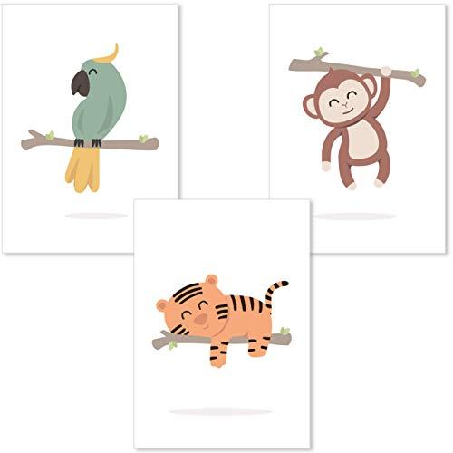 DANHOL - Cuadros infantiles para habitacion niño y niña A4 - Set 3 laminas infantiles para habitacion, cuadros para bebes decoración habitación bebe